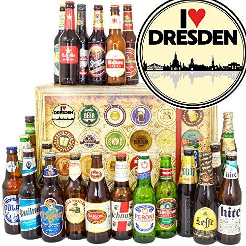 I love Dresden + Biere der Welt 24x + Geschenk Dresden Mann + Weihnachtskalender Bier