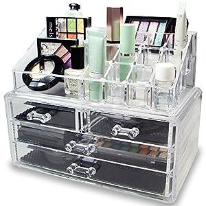 DECO EXPRESS Maquillaje Organizador de cosméticos Organizador de Maquillaje de 4 Niveles Exhibición de la vanidad Estuche Grande