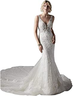 V Neck Open Back Illusion Lace Wedding Dress Mermaid Bridal Gown