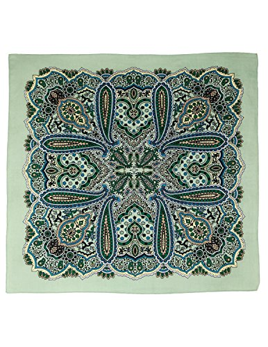 Sunshine Joy Paisley Hippie Bandana 22x22 Inches - Safari Green
