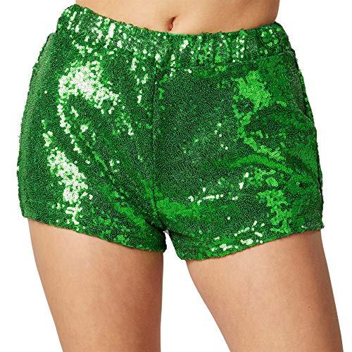 dressforfun 900996 Damen Pailletten Glitzer Shorts, sexy Kurze Hose Shorts, grün - Diverse Größen - (M | Nr. 303902)