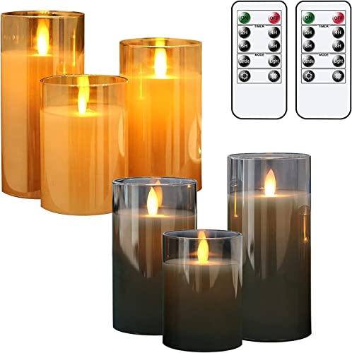 popular GenSwin popular Flameless LED Glass Candles Bundle, 3 Pack Gray Glass 3 Pack Gold Glass Flameless Candles with 2 Remotes, sale 3 Inch Diameter 4 5 6 inch Tall outlet sale