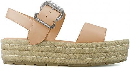 DIDIDD Sandales de Plate-Forme de Boucle à Une Seule Touche Sandales de Vacances Chaussures à Talons Hauts de L'étudiant à Bout Ouvert,Abricot,38