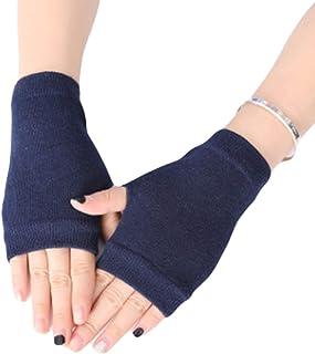 Luvas unissex de malha de algodão, luvas sem dedos, luvas térmicas de cor lisa com orifício para o polegar