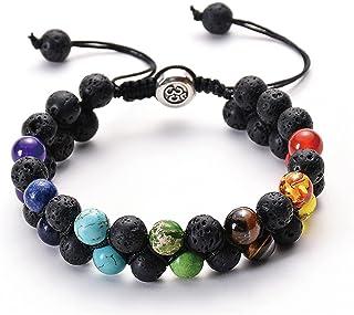Layered Tiger Eye 7 Chakra Beaded Stone Bracelet Handmade Braide Rope Yoga Healing Lava Rock Bead Essential Oil Diffuser B...