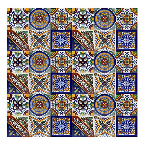 Piastrelle Messicane Talavera | 30 piezzi 10,5x10,5 cm | Mattonelle colorati, decoratiCerames, Ramon - 30 piezzi Piastrelle Messicane 10,5x10,5 cm, Mattonelle colorati, decorati