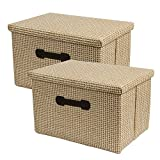 HUATK 2 Pack Decorative Storage Boxes with Lids Storage Woven Baskets for Shelves, Closet Organization Bins for Office, Bedroom, Closet, Toys (Khaki)