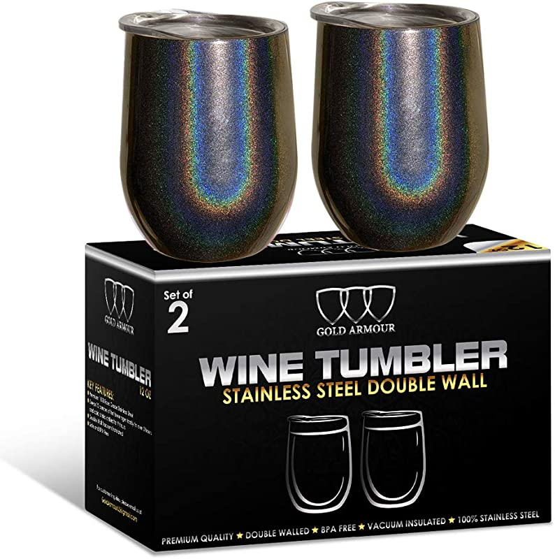 2Pack Stainless Steel Stemless Wine Glass Tumbler With Lid 12 Oz Double Wall Vacuum Insulated Travel Tumbler Cup Sweat Free Unbreakable Bpa Free Shimmer Charcoal