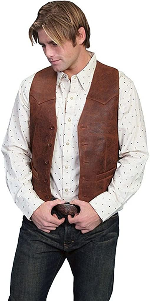 Scully Mens Lambskin Button Front Vest - Brown
