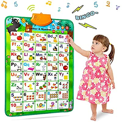 NARRIO Educational Toys for 2 3 4 Year Old Boys Gifts, Interactive Alphabet Wall Chart Learning ABC Poster for Kids Ages 2-5, Christmas Birthday Gifts for 2-4 Year Old Girls Toys for Toddler Age 1-3 by Narrio