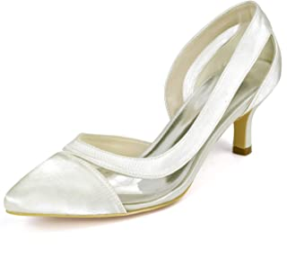 Women Kitten Heel Pumps Pointed Toe D'orsay Court Shoes Satin Wedding Bridal Shoes