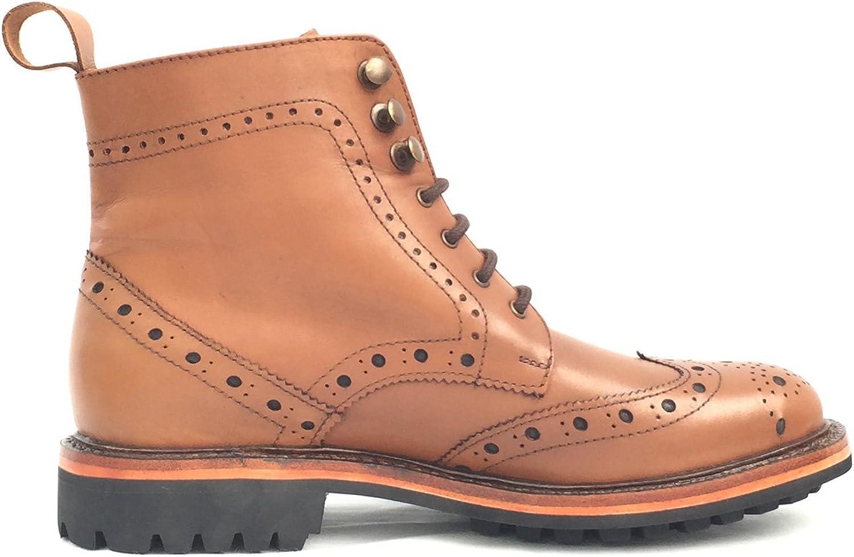 KINGKOMFORT Eyelet Boot (KK106CS) Handmade Goodyear Welted Real Leather Boot Tan