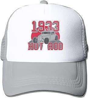 Hot Rod 1933 Letter Mesh Baseball Cap Unisex Adjustable Trucker Style Hats Gray