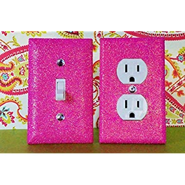 BREEZY PINK Glitter Switch Plate & Outlet Covers. Set of 2. ALL Styles Available! GIRLS ROOM DECOR / TEEN ROOM GIRL'S BEDROOM DÉCOR