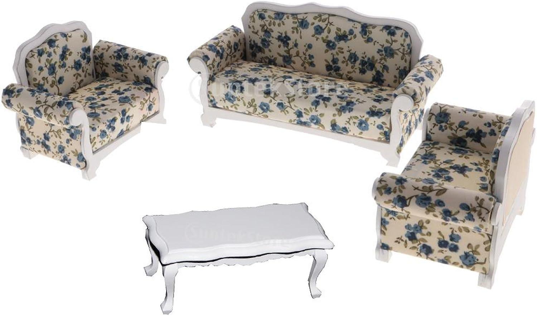 MagiDeal 1 12 Dollhouse Modern Sense Living Room Decor End Table White & 3pcs Sofa Set Accessories