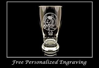 Clan MacGregor Scottish Crest Pint Glass- Free Personalized Engraving, Family Crest, Pub Glass, Beer Glass, Custom Beer Glass