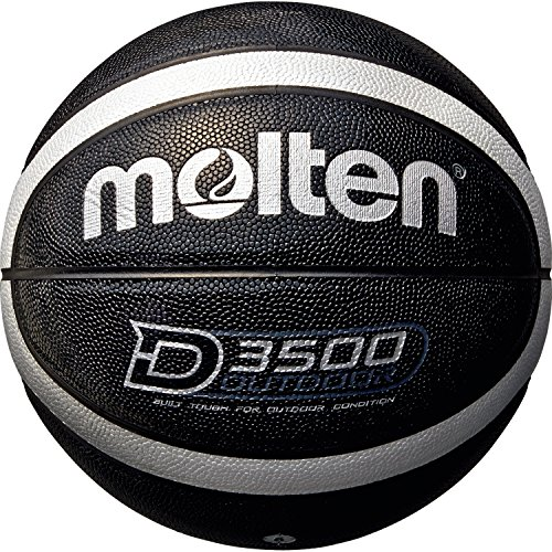 Molten Unisex Adult Molten Basketball Ball B6D3500-KS Gr. 6 Basketball Balls - Black/Silver (Shiny Optic), 6