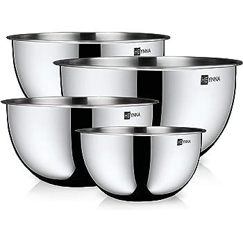 HEYNNA® Set de 4 Boles de Cocina / Cuencos de Mezcla – Set de Tazones de Mezcla con Medidor – Boles de Acero Inoxidable – Apilables y Aptos para Lavavajillas – de 2L a 4.5L