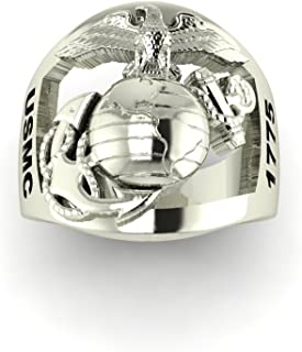 Continuum Sterling Silver Marine Corps Ring with Open Back Eagle Globe and Anchor, USMC and MSGT Rank MR10