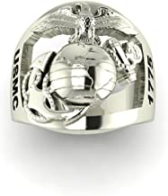 product image for Continuum Sterling Silver Marine Corps Ring with Open Back Eagle Globe and Anchor, USMC and 2LT Rank MR10