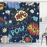DYCBNESS Duschvorhang,Superheld Retro Comic Bunte Pop-Art-Cartoon-Sprechblasen Lustiger Humor Ausdrücke Boom Scream Splash Bang Symbol, Bad Vorhang Wasserdichtes Design,mit Haken 180x180cm