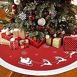 Elloevn Weihnachtsmann und Schlitten Weihnachtsbaumdecke, Rote und Weiße Dekorative Runde Weihnachtsbaum Röcke mit Schneeflocken, Weihnachtsbaum Rock Dekorationen für Home Weihnachtsfeiertage