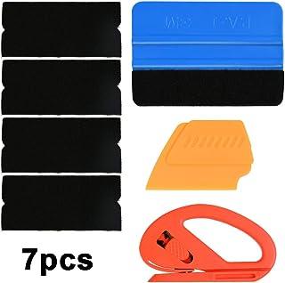 YANSHON Vinilo de Tinte Instalación 7pcs con Enrollado automático de Ventanas, Películas Adhesivas de espátula con raspador Azul / 4 Tela Fieltro de Repuesto/raspador de Cuchilla/Cuchillo de Corte