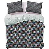 UNOSEKS LANZON Funda de cama tradicional patrón popular en forma de punto sudamericana Ecuador geométrica tropical primavera funda nórdica suave material se siente lujoso Multicolor, tamaño Queen