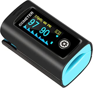 Hesley Pulse Oximeter Fingertip, Oxygen Saturation Monitor with Plethysmograph and Perfusion Index, Heart Rate and SpO2 Levels Meter with LED Display for Adult: Health & Personal Care