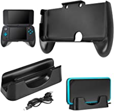 Charging Dock Compatible New Nintendo 2DS XL with Hand Grip, AFUNTA Charging Station Cradle Stand With Mini USB Cable and Plastic Handle Compatible 2017 Nintendo 2DS LL - Black