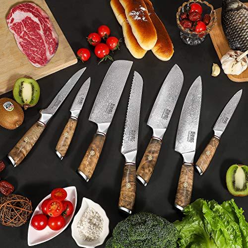 JunYuJiangChen 8 Piece Chefs Knife Set