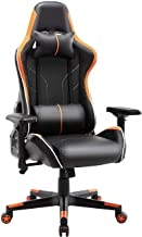 Gaming Chair High Back PU Leather Racing Office Computer Chair Ergonomic Chair with Headrest and Lumbar Support (Orange)