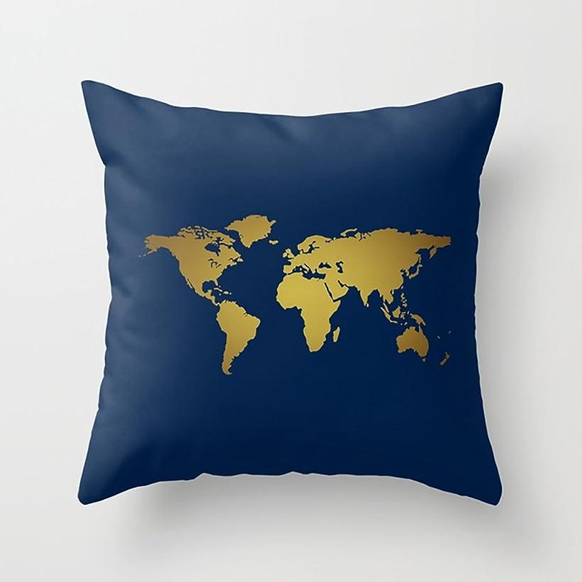 銀行パブ無意味背当てクッションカバー ネイビーブルー+フェイクゴールドホイルの世界地図 正方形 アジアン 女の子 角型 おしゃれ インテリア プレゼント 背当て 上品 モダン 綿 枕カバー