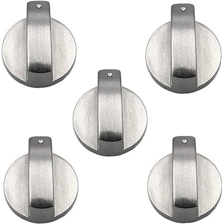Lot de 5 boutons de contrôle pour cuisinière à gaz - En métal argenté - 6 mm