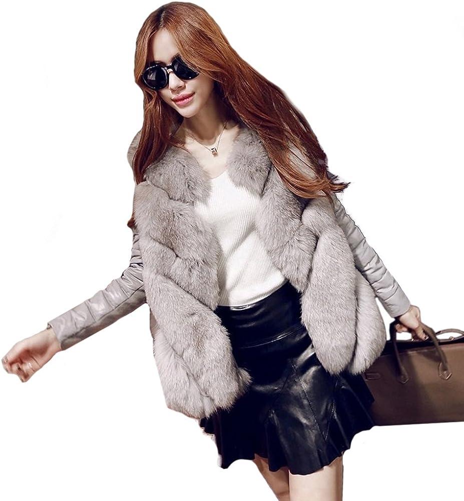 Womens Luxury Elegant Winter Warm Fox Faux Fur Jacket Coat Parkas Outwear