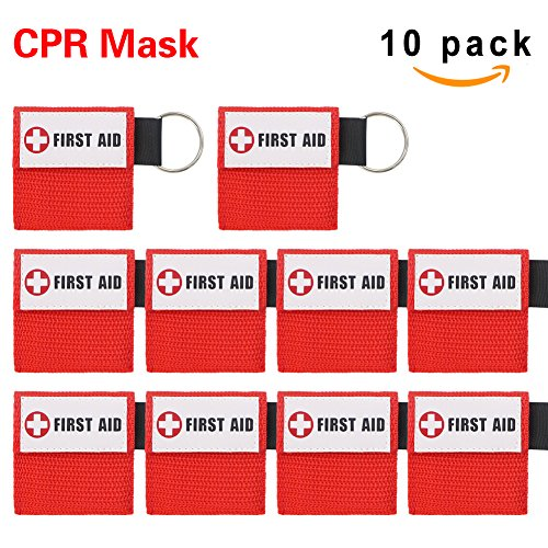 CPR Mask, One-Way Valve Emergency Face Shields Rescue Baby and Adult CPR Pocket Mask for First Aid, CPR Mask Keychain, Lanting(10 Packs,Red)