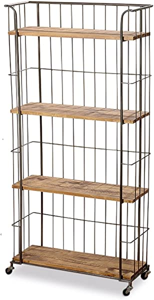 WHW Whole House Worlds Urban Chic Rolling Rack With 4 Shelves Wheels Metal And Wood Approx 5 Ft Tall 59 Inches 150 Cm