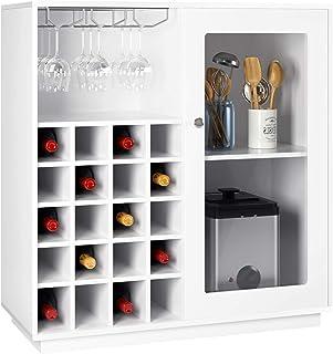 comprar comparacion Homfa Botellero Vino para 20 Botellas Botellero Madera Mueble para Vinos para Comedor con 3 Portavaso 2 Estantes Blanco 80...