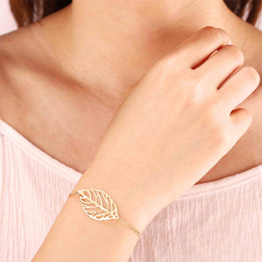 Bomine Leaves Bracelets Hollow Leaf Chain Bracelet Charm Bangle Jewelry for Women and Girls (Gold)