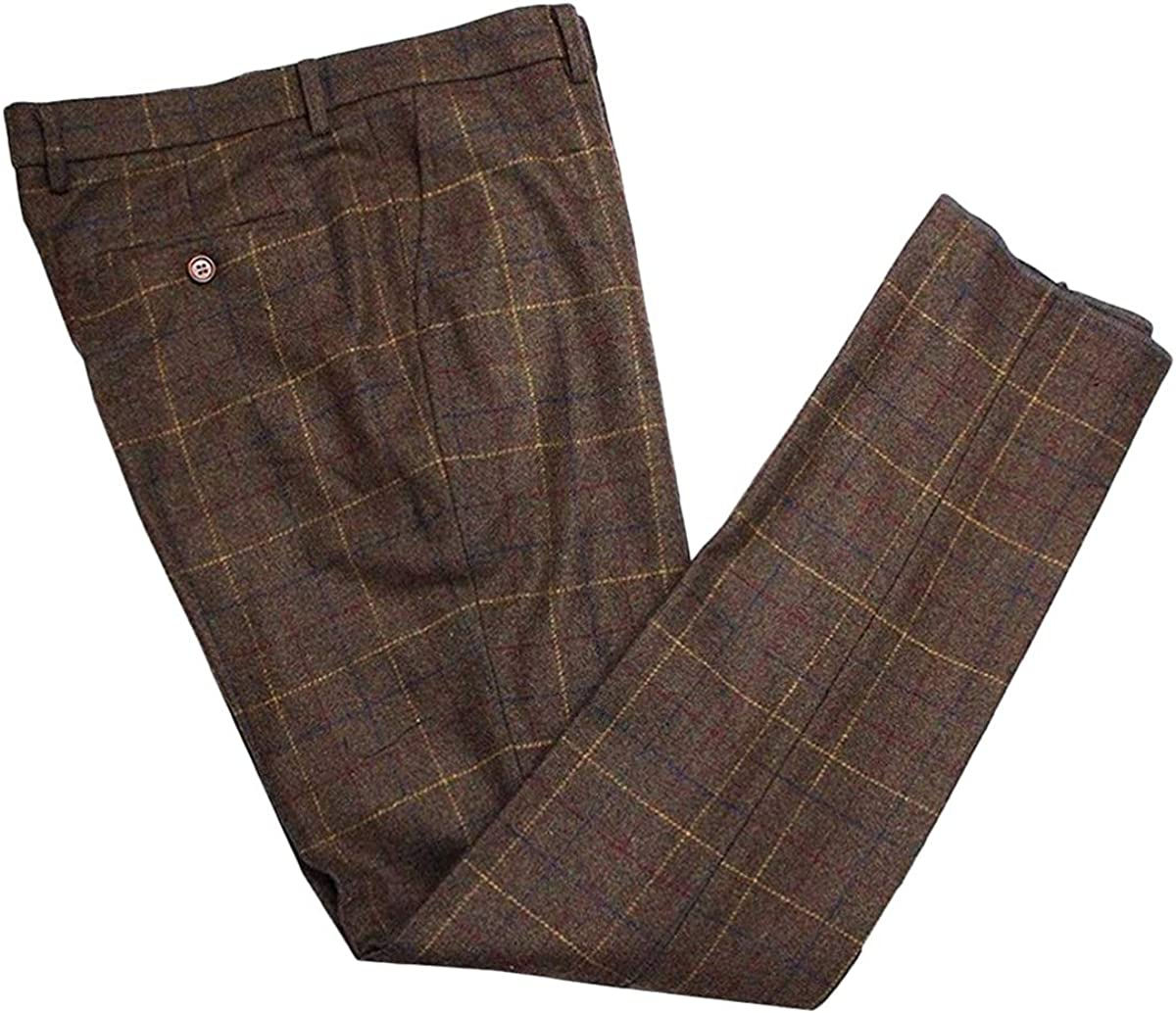 Wemaliyzd Men's Premiun Tweed Blend Check Max 56% OFF Dress Flat Front Overseas parallel import regular item Pants