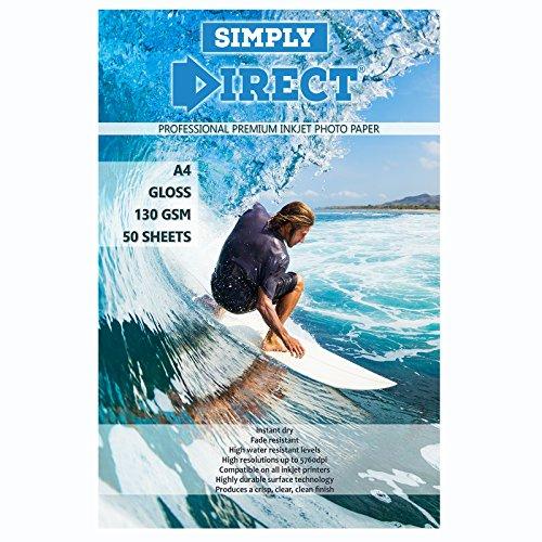 50 x Simply Direct A4 Glänzend Tintenstrahldrucker-Fotodruckpapier – 130 g/qm - Professionelles Premium-Fotopapier