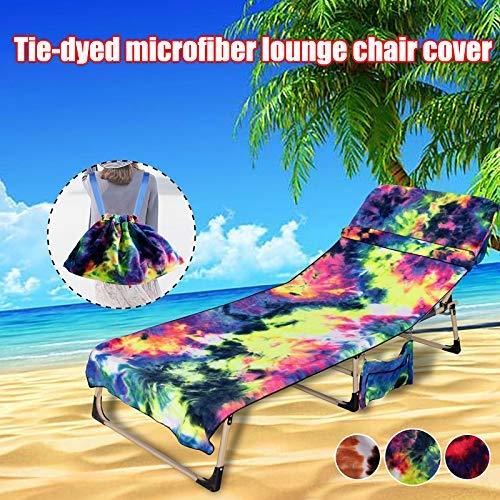 Soul hill Abbindgefärbten Mikrofaser Lounge-Stuhl-Abdeckung mit Storage-Rucksack Strandstuhl Handtuch Set zcaqtajro (Color : Red)