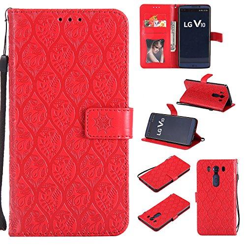 Lomogo LG V10 Hülle Leder, Schutzhülle Brieftasche mit Kartenfach Klappbar Magnetverschluss Stoßfest Kratzfest Handyhülle Case für LG V10 (H960A) - LOYYO23394 Rot