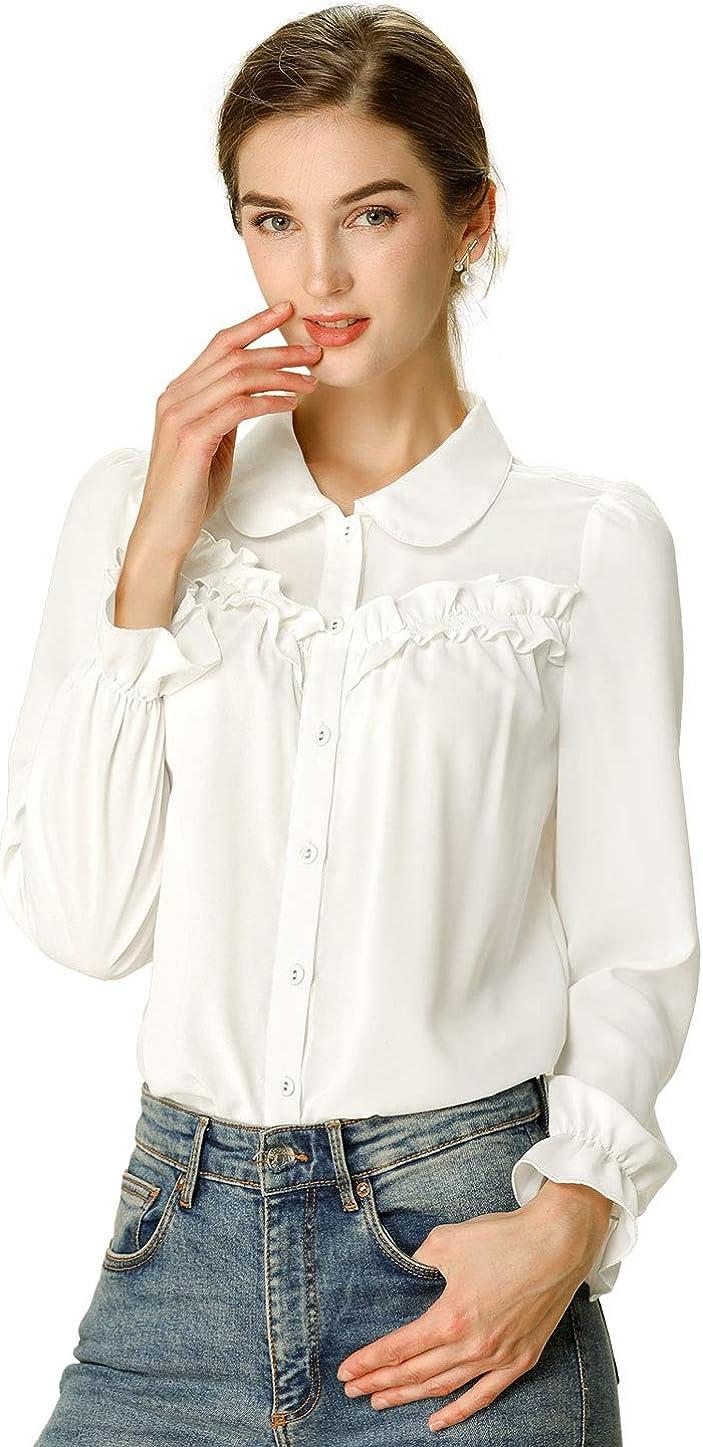 Allegra K Women's Button Down Long Sleeve Peter Pan Collar Ruffled Shirt