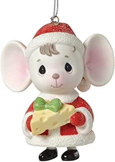 """Precious Moments, The Holidays are Mice with You"""", Mouse with Cheese, Porcelain Bell Ornament, 161047"""