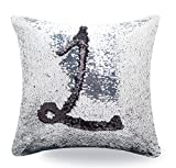 Livedeal Reversible Sequins Mermaid Pillow Cases 4040cm Black and Silver