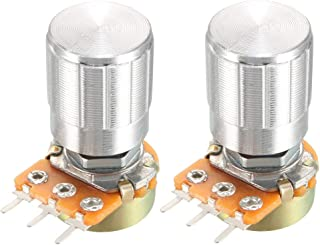 uxcell® 2Pcs 100K Ohm Variable Resistors Single Turn Rotary Carbon Film Taper Potentiometer with Knobs