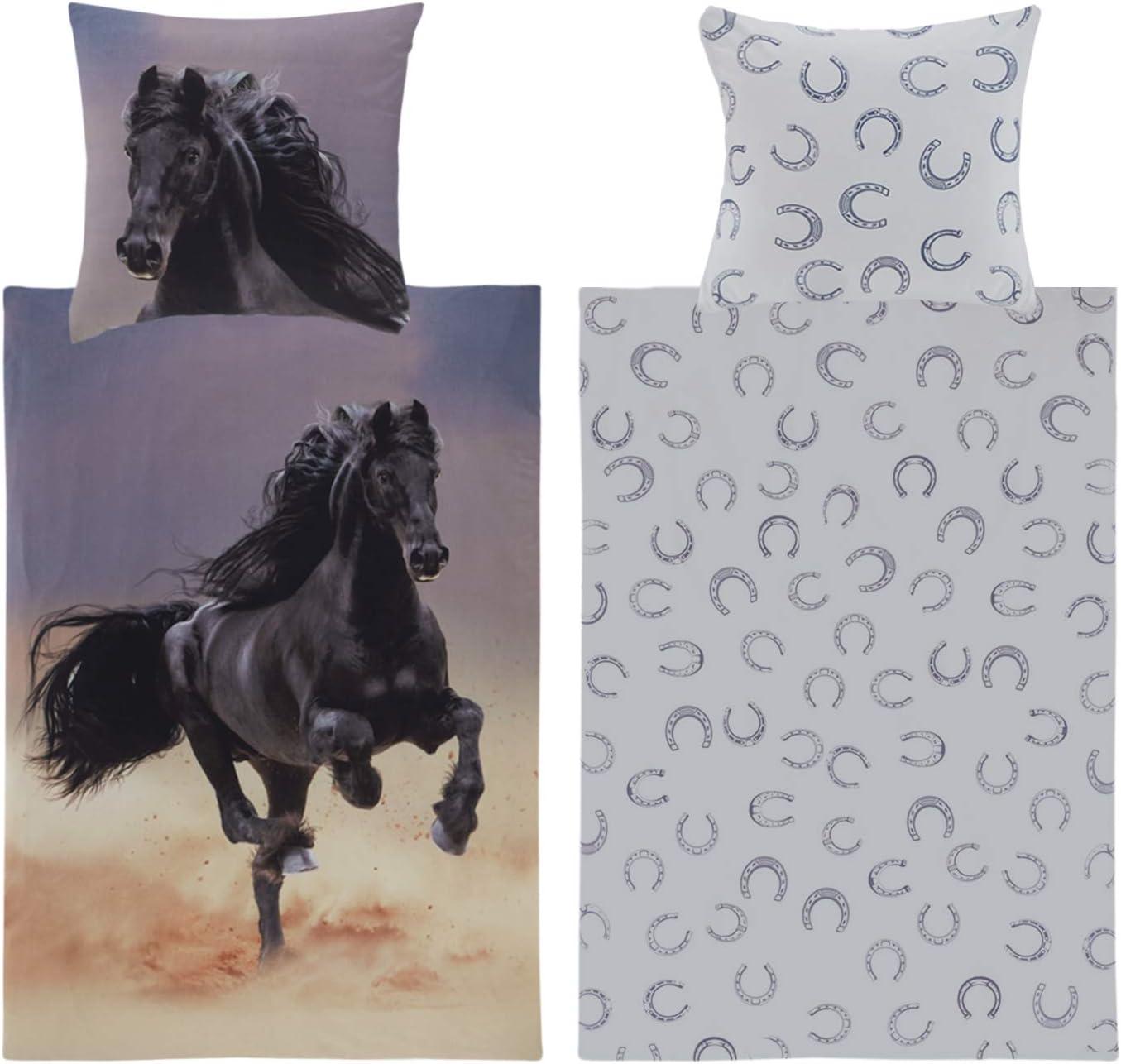 Ropa de cama de 135 x 200 cm, diseño de caballos, para niñas, de algodón, con cremallera YKK, reversible, color negro, ropa de cama infantil, juveniles y adolescentes