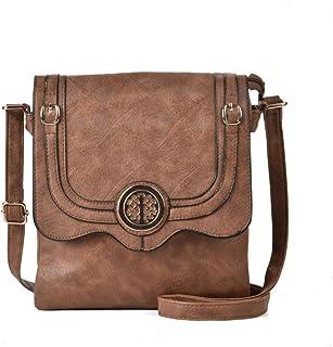 GLITZALL Women Simple PU Leather shoulder bag Vintage handbag Flap-Over Crossbody bag (Camel)