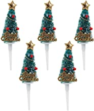 CLISPEED Christmas Cake Toppers 5PCS Christmas Tree Shape Birthday Party Cake Picks Cake Decoration (Green with Snow)